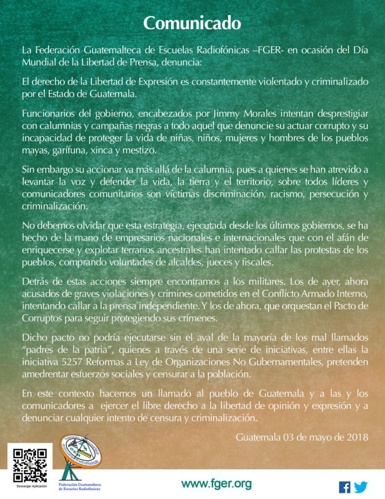 Estado de Guatemala violenta y criminaliza la Libertad de Expresión