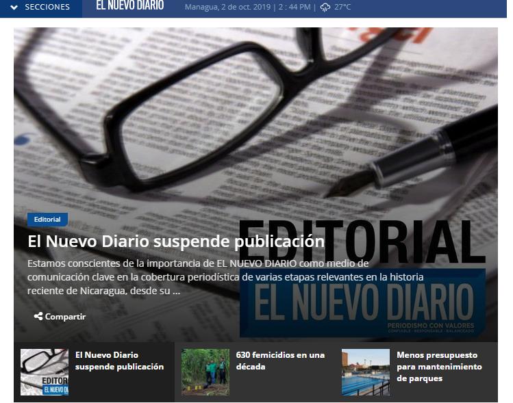 Nicaragua: después de 39 años cerró sus puertas El Nuevo Diario