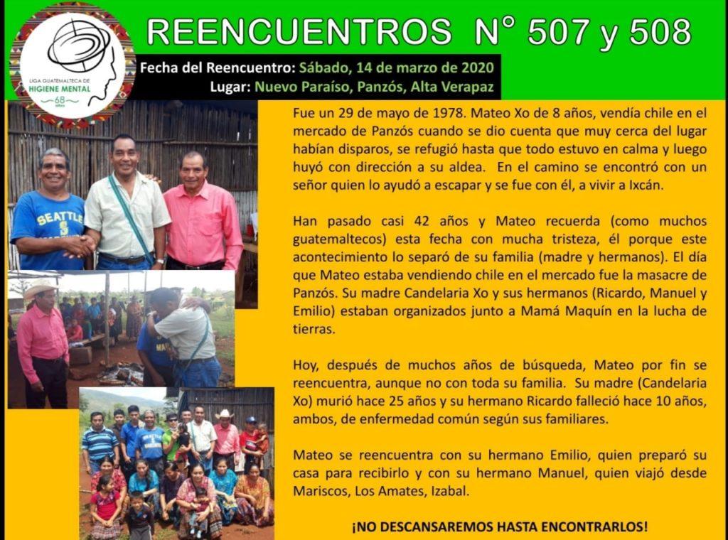 Sobreviviente de masacre de Panzós se reencuentra con su familia