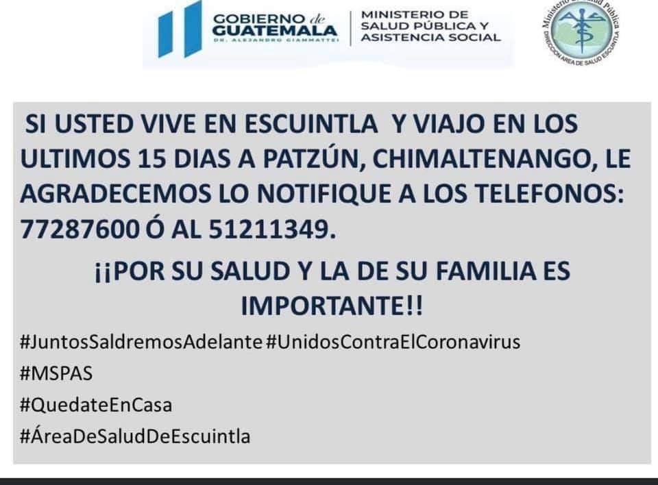 Visitantes de Escuintla que hayan viajado estos 15 días a Patzún, deben reportarlo