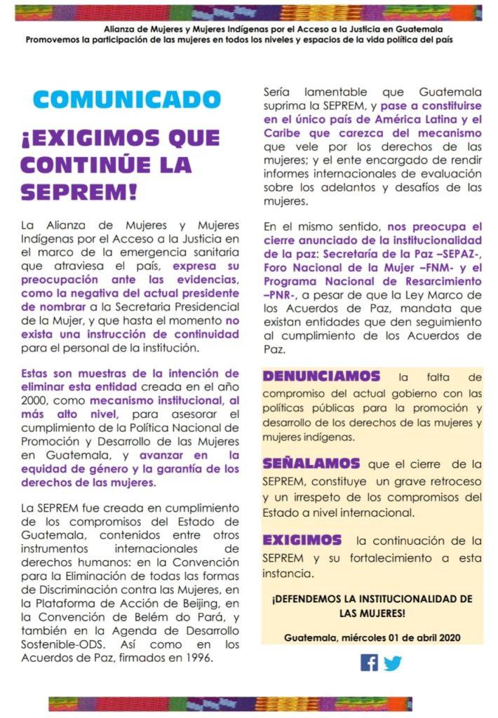 Gobierno da muestras de eliminar la Secretaría Presidencial de la Mujer
